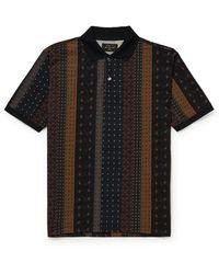 Beams Plus Slim-fit Printed Piqué Polo Shirt - Black