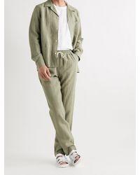 De Bonne Facture Camp-collar Washed Linen-canvas Chore Jacket - Green