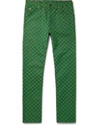 Gucci Logo-jacquard Organic Cotton-blend Pants - Green