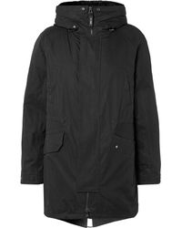 Yves Salomon Faux Shearling-lined Cotton-blend Hooded Fishtail Parka - Black