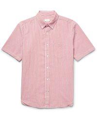 Club Monaco - Slim-fit Button-down Collar Striped Cotton-seersucker Shirt - Lyst