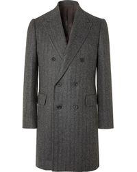 Kingsman Double-breasted Herringbone Alpaca Coat - Grey