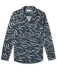 Desmond & Dempsey Printed Cotton Pyjama Shirt - Blue
