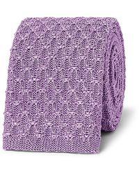 Richard James 6.5cm Knitted Silk Tie - Purple