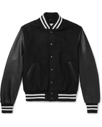 Golden Bear - Virgin Wool-blend And Leather Bomber Jacket - Lyst