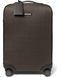 Ermenegildo Zegna Pelle Tessuta Leather Carry-on Suitcase - Brown