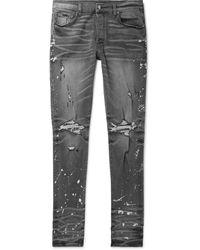 Amiri Thrasher Minus Skinny-fit Distressed Bleach-splattered Stretch-denim Jeans - Gray
