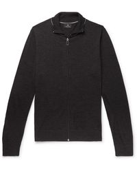 PS by Paul Smith Slim-fit Piped Merino Wool Zip-up Cardigan - Gray