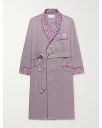 Turnbull & Asser Piped Checked Cotton-poplin Robe - Red
