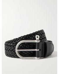 Bleu De Chauffe 3.5cm Manille Woven Leather Belt - Black