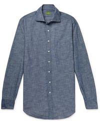 Sid Mashburn Slim-fit Cotton-chambray Shirt - Blue