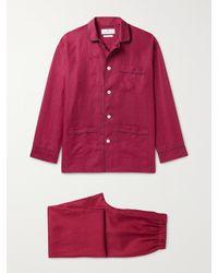 Turnbull & Asser Modern Piped Linen Pyjama Set - Red