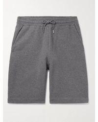 NINETY PERCENT Wide-leg Mélange Loopback Organic Cotton-jersey Drawstring Shorts - Grey