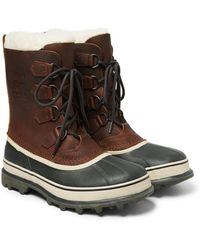 Sorel Caribou Faux Shearling-trimmed Waterproof Leather And Rubber Snow Boots - Brown