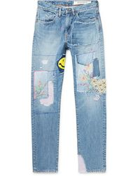 Kapital Okabilly Gypsy Patchwork Slim-fit Embroidered Jeans - Blue