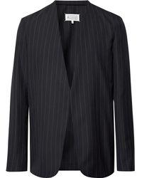 Maison Margiela - Midnight-blue Collarless Felt-trimmed Pinstriped Wool Blazer - Lyst