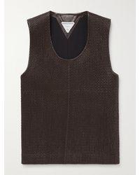Bottega Veneta Slim-fit Woven Leather Tank Top - Brown
