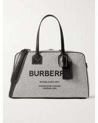 Burberry Logo-print Leather-trimmed Canvas Holdall - Black
