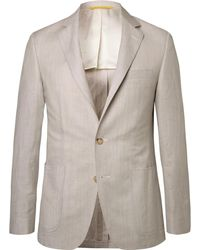 Canali - Stone Kei Slim-fit Wool And Linen-blend Suit Jacket - Lyst