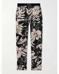 Tom Ford Velvet-trimmed Leopard-print Stretch Silk-satin Pyjama Trousers - Black