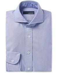 Lardini Slim-fit Cutaway-collar Cotton Shirt - Blue