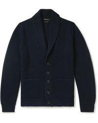 Ermenegildo Zegna Shawl-collar Ribbed Cashmere Cardigan - Blue