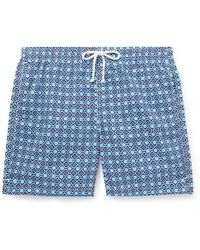Anderson & Sheppard Slim-fit Mid-length Printed Swim Shorts - Blue