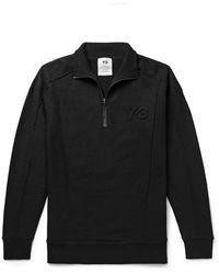 Y-3 Logo-embossed Wool Half-zip Sweater - Black