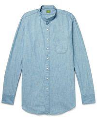 Sid Mashburn Grandad-collar Cotton-chambray Shirt - Blue