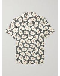 MR P. Camp-collar Printed Cotton Shirt - Blue