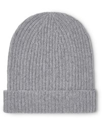 Anderson & Sheppard Ribbed Mélange Cashmere Beanie - Grey