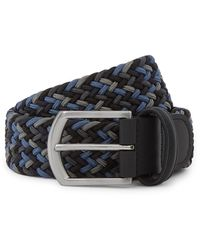 Andersons 3.5 Navy Leather-trimmed Woven Elastic Belt - Blue