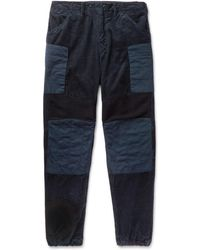 Engineered Garments - Patchwork Wide-leg Cotton-corduroy, Ribbed Wool And Canvas Trousers - Lyst