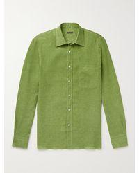 Rubinacci Spread-collar Linen Shirt - Green