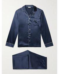 Derek Rose Bailey Piped Silk Pyjama Set - Blue