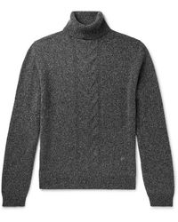 Isaia Slim-fit Cable-knit Wool Rollneck Jumper - Grey
