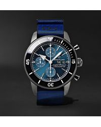 Breitling + Outerknown Superocean Heritage Chronometer 44mm Dlc-coated Stainless Steel And Nato Watch, Ref. No. M133132a1c1w1 - Blue