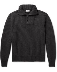 Brioni Ribbed Wool And Cashmere-blend Half-zip Jumper - Grey