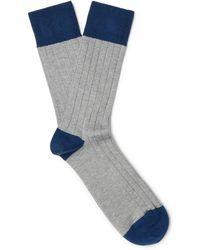 John Smedley - Gamma Colour-block Sea Island Cotton-blend Socks - Lyst