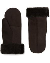 Dents - Inverness Shearling-lined Suede Mittens - Lyst