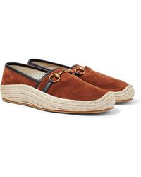 Gucci Matador Horsebit Leather-trimmed Suede Espadrilles - Brown