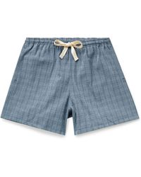 Howlin' Holidays Checked Cotton-blend Seersucker Drawstring Shorts - Blue