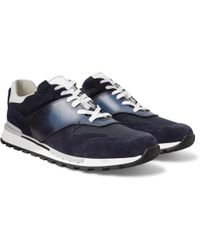 Berluti - - Fast Lane Leather, Suede And Nylon Trainers - Navy - Lyst
