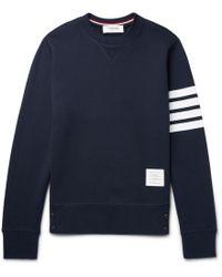 Thom Browne - Striped Loopback Cotton-jersey Sweatshirt - Lyst