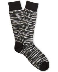 Ermenegildo Zegna Striped Stretch Cotton-blend Socks - Black