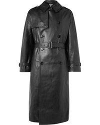 Vetements Oversized Leather Trench Coat - Black
