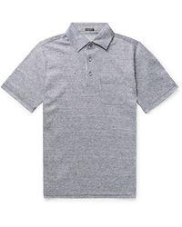 Rubinacci Striped Slub Linen Polo Shirt - Blue