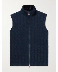 Kiton Cable-knit Cashmere Gilet - Blue