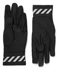 Off-White c/o Virgil Abloh Logo-print Stretch-shell Gloves - Black