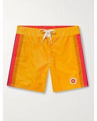 Birdwell Mid-length Striped Swim Shorts - Yellow